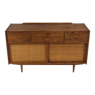Conant Ball Sliding Doors Cane Credenza Solid Birch Mid-Century Modern For Sale