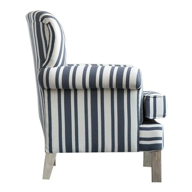 American Classical Striped Fabric Classic Armchair For Sale - Image 3 of 6