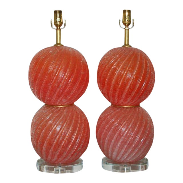 Vintage Murano Pulegoso Glass Ball Table Lamps Melon For Sale