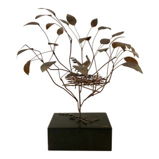1968 Curtis Jere Birds in Tree Nest Sculpture For Sale