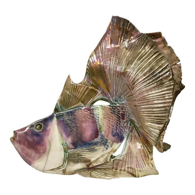Contemporary Artisan Hand Sculpture Ceramic Fish Wall Art | Chairish