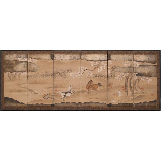 Extremely rare exquisite pair of Japanese 6-panels Byobu Screens, depicting lovely landscapes and playful horses and...