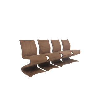 Modern Set of 4 Z Chairs in Suede For Sale