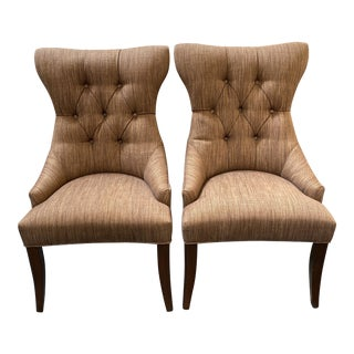 Lorts Custom Tufted High Back Arm Chairs, a Pair For Sale