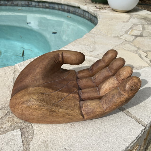 1960s Mid Century Wooden Human Hand Sculpture For Sale - Image 11 of 12