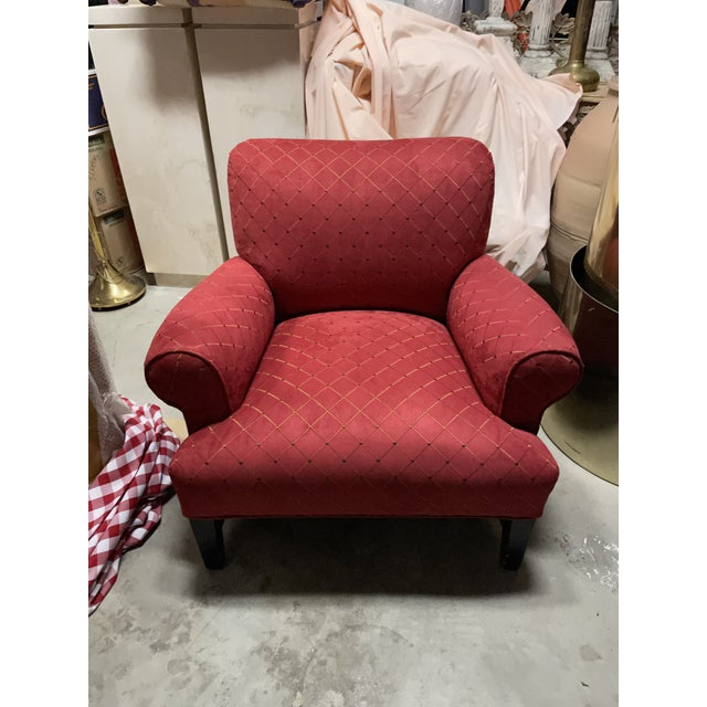 1980s Steve Chase Associates Red Upholstered Chair For Sale - Image 5 of 8