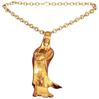 Judith Leiber Massive Figural Gilt Metal Pendant Brooch Necklace For Sale