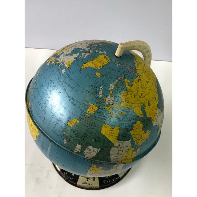 Retro Metallic World Globe With Zodiac Base For Sale - Image 9 of 13
