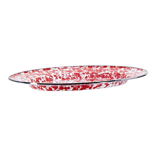 Oval Platter Red Swirl For Sale