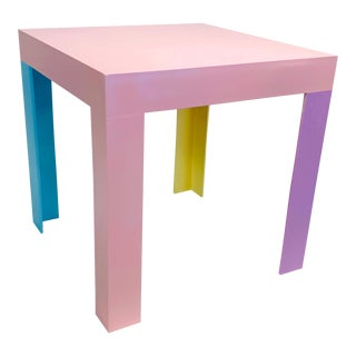 Memphis Inspired Pastel Parson Style Side Table For Sale