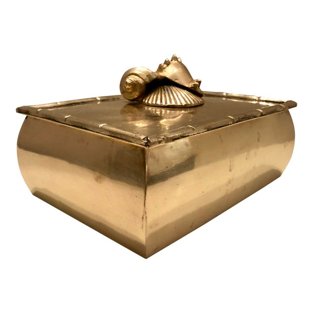 Brass Box With Shells Decor For Sale