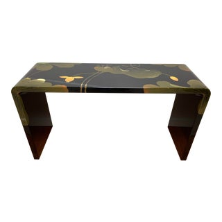 Final Markdown 1970s Asian Modern Lacquered Lily Pad and Lotus Leaf Waterfall Console Table For Sale