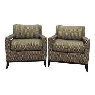 Pearson Manhattan Black and White Lounge Chairs - A Pair For Sale