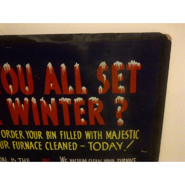 """Vintage Home Heating Coal Sign """"Majestic Coal"""" Circa 1940 For Sale - Image 5 of 6"""