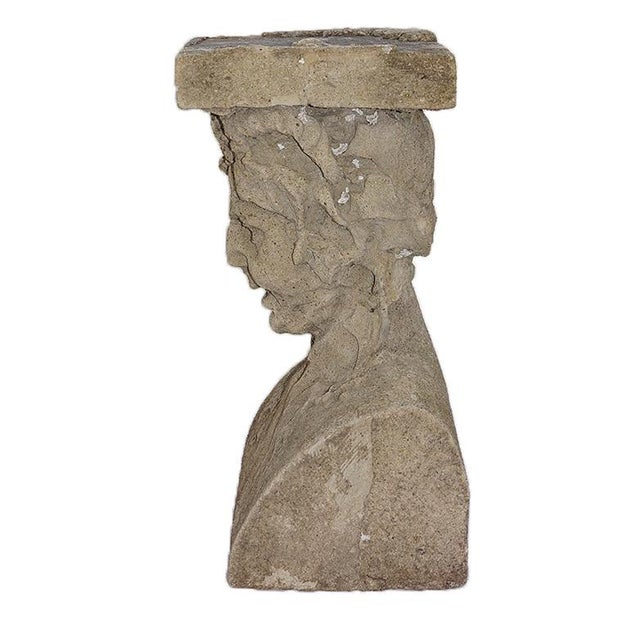 Late 19th Century Cast Stone Pedestals With Figural Bust and Foliate Design - a Pair For Sale - Image 10 of 11