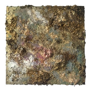 """""""Gold Dust Two"""" Abstract Sculptural Painting by Chloe Hedden For Sale"""