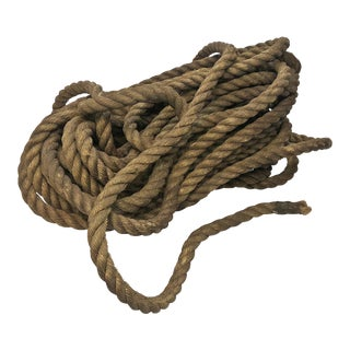 "Vintage Nautical Woven 1"" Hemp Rope - 65 Feet"