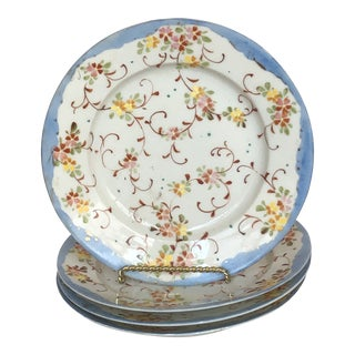 Hand-Painted Porcelain Plates - Set of 4 For Sale