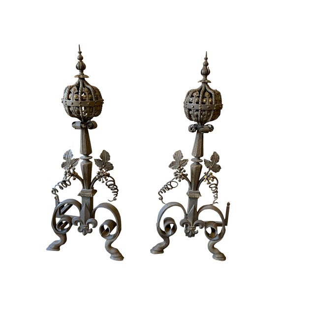 19th Century 19th Century French Wrought Iron and Bronze Andirons - a Pair For Sale - Image 5 of 5