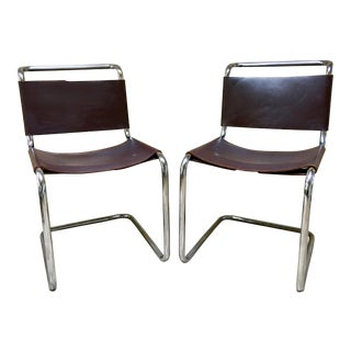 Mid Century Modern S33 Style Chrome & Leather Chairs- A Pair For Sale