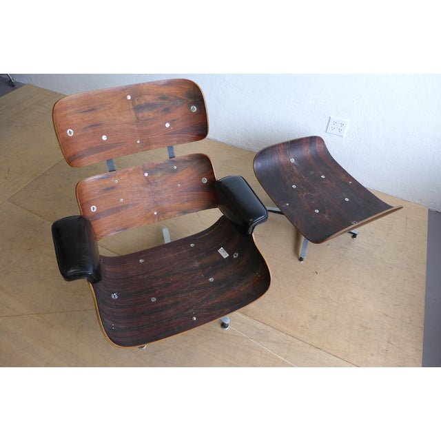 Eames 670/671 Leather Lounge Chair For Sale In Los Angeles - Image 6 of 9