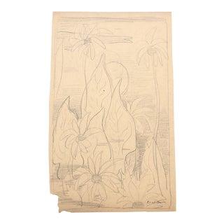 1930s Vintage Eliot Clark Floral Still Life Impressionist Inspired Drawing For Sale