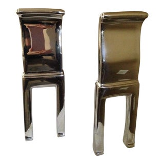 Nickle Plated Contemporary Andirons - A Pair For Sale