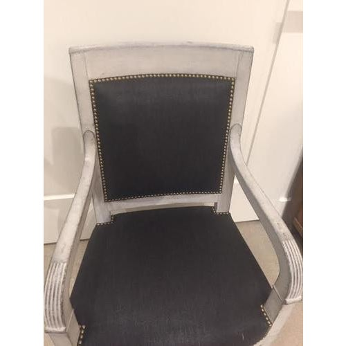 Black Painted Wood Chair With Black Linen Fabric For Sale - Image 8 of 9