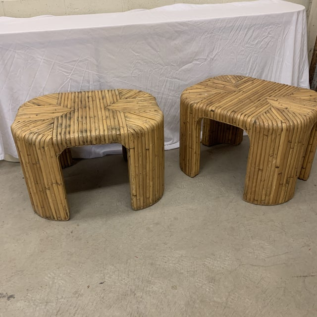 Vintage Split Reed Waterfall End Tables - Pair For Sale - Image 4 of 13