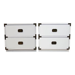 1970s Campaign Newly Lacquered Nightstands - a Pair For Sale