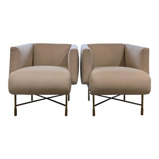 Ivory Herringbone Lounge Chairs - a Pair For Sale