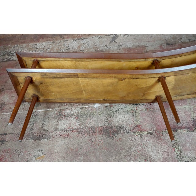 1960s Mid-Century Modern Walnut Two Tier Curvy Console For Sale - Image 11 of 12