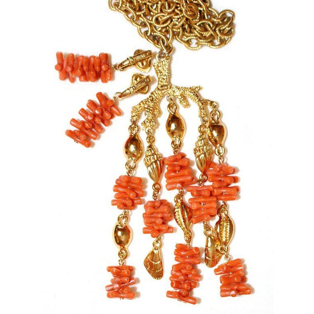 Mid-Century Modern C1960s Trifari Faux-Coral Necklace & Earrings Set For Sale - Image 3 of 5