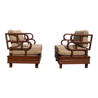 1990s Chinoiserie Exaggerated Back and Side Lounge Chairs - a Pair For Sale