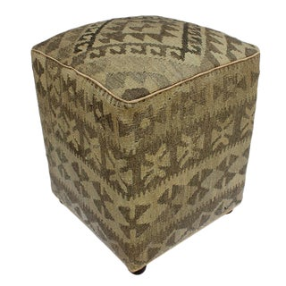 Arshs Danielle Tan/Gray Kilim Upholstered Handmade Ottoman For Sale