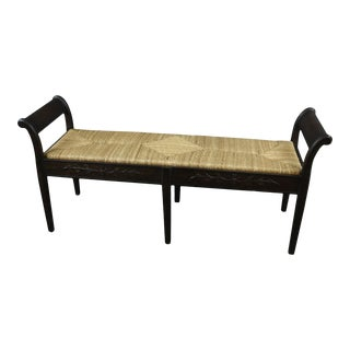 Swedish Handwoven Rush Rattan Seat Carved Bench For Sale