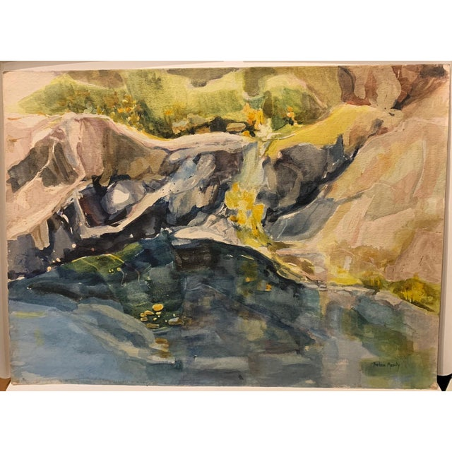 """Mid Century California Gold Country Landscape Watercolor Painting """"River Bank"""" For Sale - Image 4 of 4"""