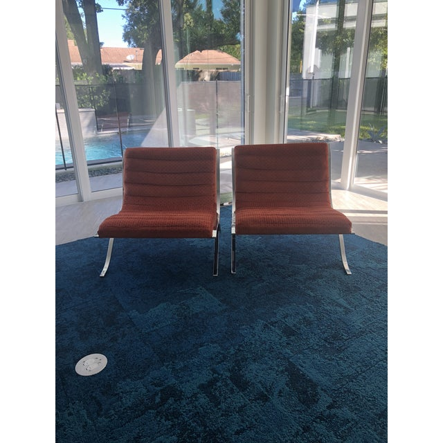 Selig Mid Century Modern Barcelona Style Chairs by Selig- A Pair For Sale - Image 4 of 6