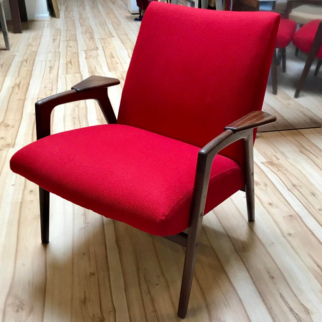 "Red 1960s Yngve Ekström ""Ruster"" Teak Lounge Chair For Sale - Image 8 of 8"