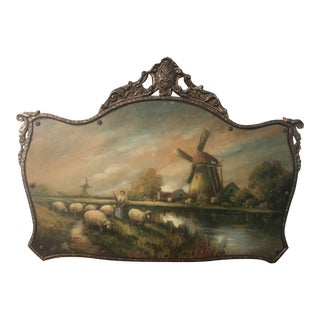 Portrait Frame and Painting of Pastoral Sheep and Windmill Setting For Sale
