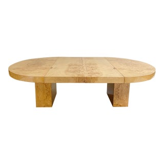 20th Century Modern Leon Rosen Burl Wood Oval Dining Table For Sale