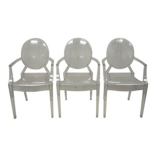 21st Century Louis Ghost Design Starck Kartell Lucite Acrylic Arm Chairs - Set of 3 For Sale