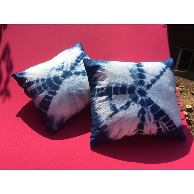 Asian Boho Chic Indigo Hand Dyed Throw Pillows - a Pair For Sale - Image 3 of 8