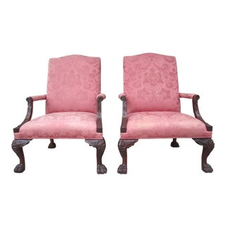 1980s Vintage Henredon Historic Natchez Collection Georgian Hairy Lion Paw Library Chairs- A Pair For Sale