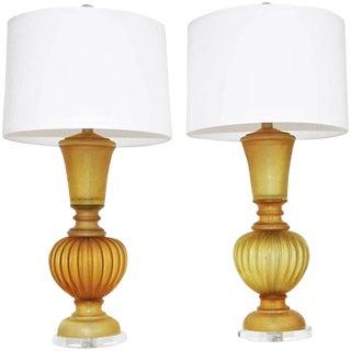 Marbro Seguso Murano Amber Corroso Table Lamps - a Pair For Sale