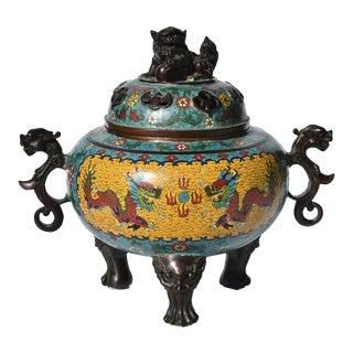 Asian Cloisonne Incense Burner For Sale