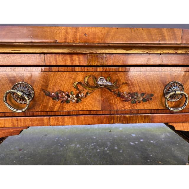 Early 19th Century Fine Early 19th C. English Painted Satonwood Desk With Leather Top For Sale - Image 5 of 13