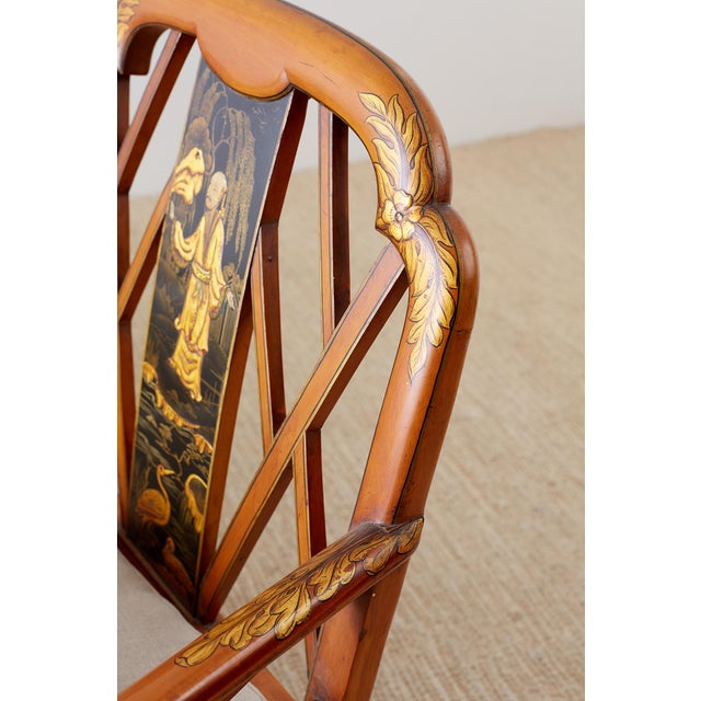 English Chinoiserie Chippendale Style Pagoda Top Settee For Sale In San Francisco - Image 6 of 13