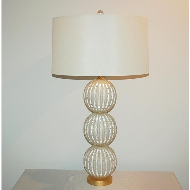 Murano Glass Stacked Ball Table Lamps White Gold Bubbles For Sale - Image 10 of 11