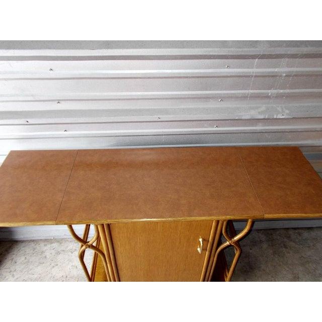 Brown Vintage McGuire Rattan Drop Leaf Dry Bar/Bar Cart For Sale - Image 8 of 10